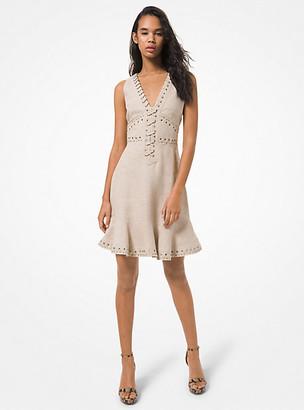 MICHAEL Michael Kors MK Lace-Up Washed Linen Dress - Hemp - Michael Kors