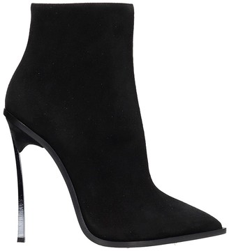 Casadei High Heels Ankle Boots In Black Suede