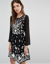 French Connection Embroidered Skater Dress