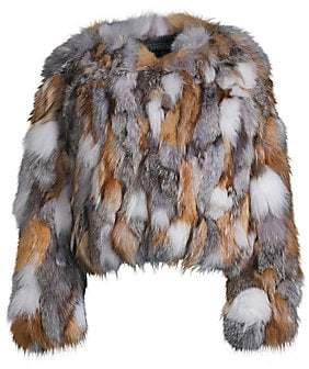 Jocelyn Women's Savage Love Multicolor Fox Fur Chubby Coat