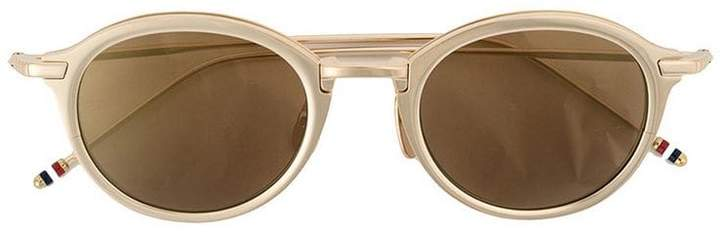 Thom Browne Eyewear White Gold & Dark Brown Sunglasses
