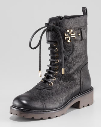 Tory Burch Toby Tumbled Leather Combat Boot