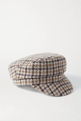 Isabel Marant Evie Houndstooth Wool-tweed Cap - Beige