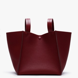 Sophie Hulme Cube Red Grain Leather Shoulder Bag