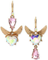 Betsey Johnson Gold-Tone Pink & Iridescent Stone Winged Heart Mismatch Earrings