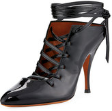 Givenchy Lace-Up Patent 100mm Pump, Black
