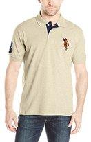 U.S. Polo Assn. Men's Multi Color Logo Solid Pique Polo Shirt