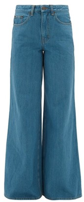 The Row Issa Wide-leg Selvedge-denim Jeans - Womens - Mid Blue