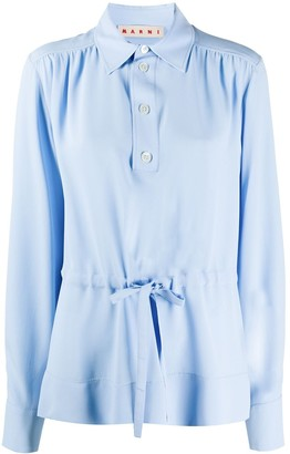 Marni Drawstring-Waist Gathered Blouse