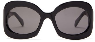 Celine Round Tortoiseshell-effect Acetate Sunglasses - Womens - Black