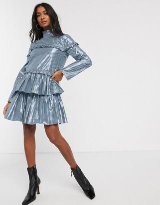 Lost Ink ruffle tiered mini dress in metallic gingham print-Blue