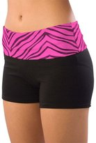 Pizzazz Girls Hot Pink Zebra Roll Down Waist Shorts Dance Cheer 6-8