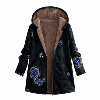 OYSOHE Clearence Womens Winter Warm Outwear Floral Print Hooded Pockets Vintage Oversize Coats