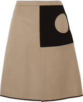 Derek Lam Two-tone crepe and wool-blend skirt