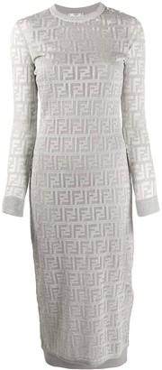 Fendi Ff Logo Print Dress