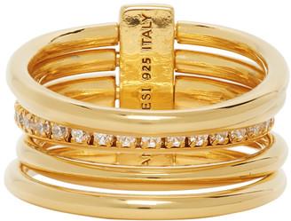 Panconesi Gold Crystal Solar Ring Set