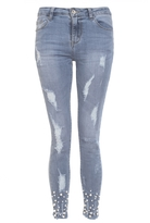 Quiz Blue Denim Pearl Skinny Jeans