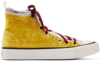 Lanvin Yellow Velvet and Canvas Sneakers