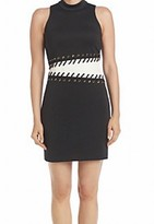 GUESS Black White Women's Size 10 Contrast Lace Up Sheath Dress