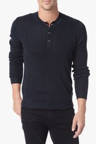 7 For All Mankind Ribbed Sweater Henley In Navy