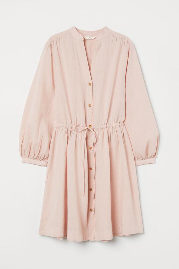 H&M - Linen-blend Dress - Pink