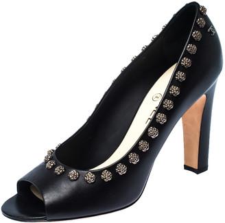 Chanel Black Leather CC Camelia Embellished Peep Toe Pumps Size 41