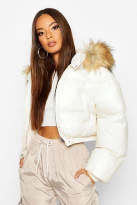 boohoo Cire Crop Faux Fur Hood Puffer Jacket