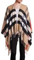 Burberry Collette Merino Wool & Cashmere Check Cape