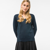 Paul Smith Women's Glittered Navy And Teal Wool-Blend V-Neck Sweater