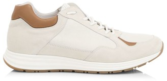 Eleventy Mixed-Media Suede Low-Top Sneakers