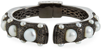 MCL by Matthew Campbell Laurenza Black Spinel Freshwater Pearl Hinge Bracelet