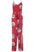 Quiz Red Crepe Floral Jumpsuit