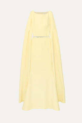 Safiyaa Crystal-embellished Stretch-crepe Gown - Pastel yellow