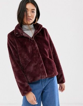Only faux fur jacket-Red