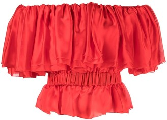 Alexandre Vauthier Ruffled Sleeveless Silk Blouse