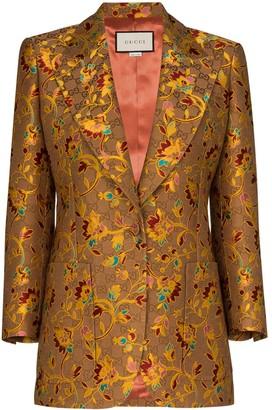Gucci floral GG Supreme logo blazer