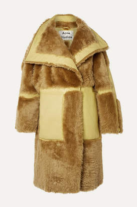 Acne Studios Luelle Oversized Paneled Shearling And Leather Coat - Tan