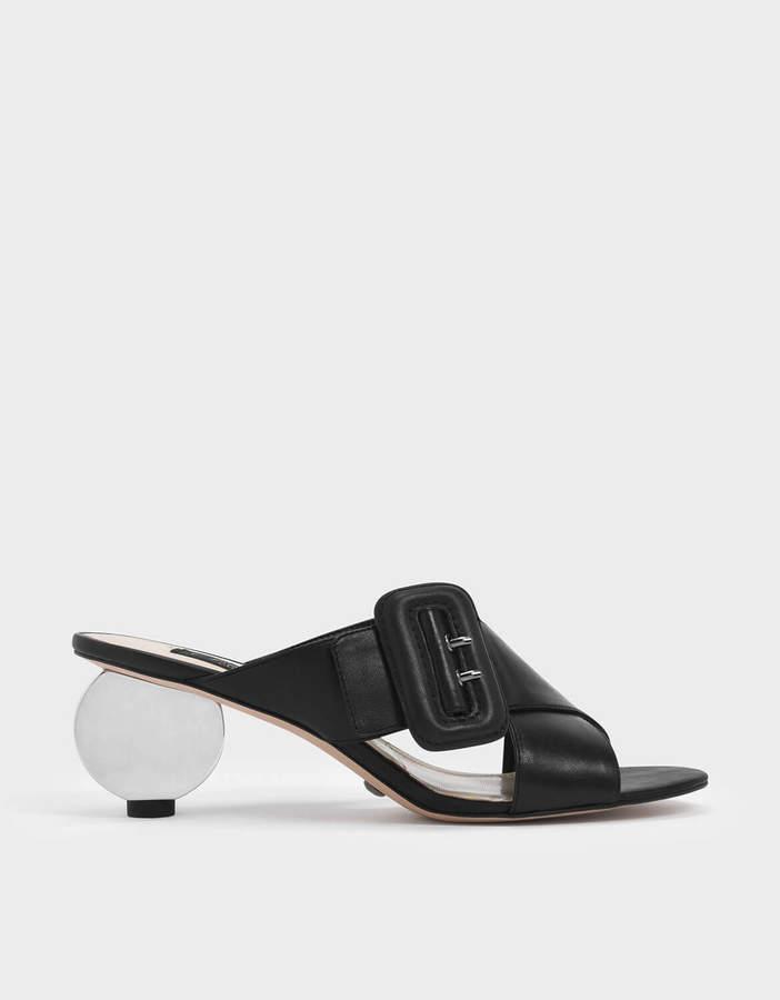 Charles & Keith Sculptural Heel Leather Slide Sandals