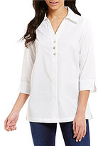 Westbound Point Collar 3/4 Sleeve Button Back Solid Tunic
