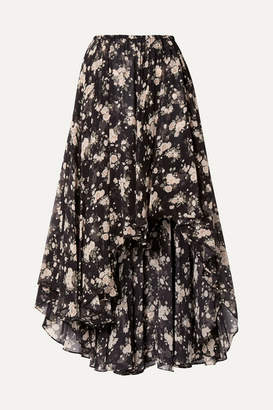 Michael Kors Asymmetric Floral-print Silk-chiffon Midi Skirt - Black
