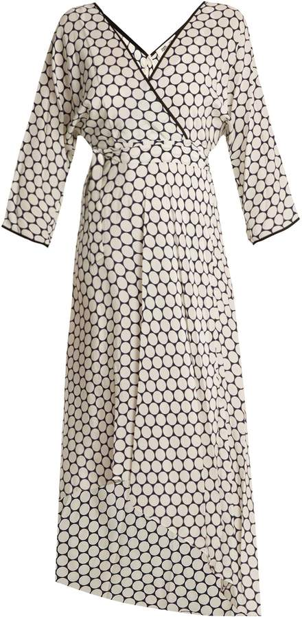 Diane von Furstenberg Honeycomb dot-print asymmetric-hem crepe dress
