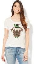 New York & Co. St. Patrick's Day Pug Graphic Logo Tee