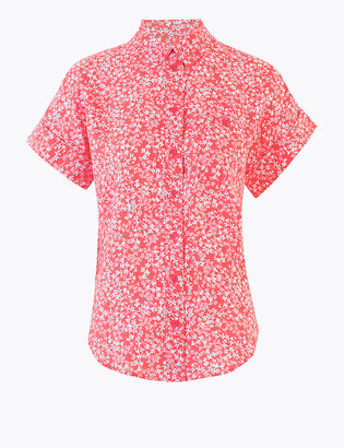 Marks and Spencer Pure Linen Floral Short Sleeve Shirt