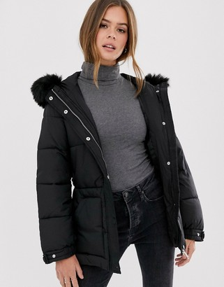 New Look belted puffer jacket in black