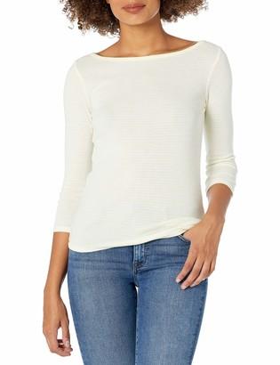 Three Dots Women's Montauk Stripe 3/4 SLV Short Tight Shirt