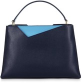 Stacy Chan London Midi Amy Tote In Navy Saffiano Leather