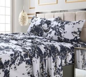 Tribeca Living Milan Island Printed 300 Tc Cotton Sateen Extra Deep Pocket King Sheet Set Bedding