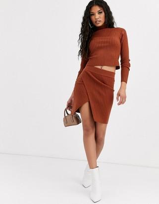 Asos Design DESIGN two-piece rib mini skirt with wrap detail