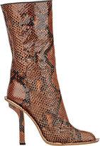 Marni WOMEN'S SNAKESKIN MID-CALF BOOTS-BROWN SIZE 7