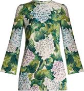 Dolce & Gabbana Hydrangea-print bell-sleeve stretch-silk top